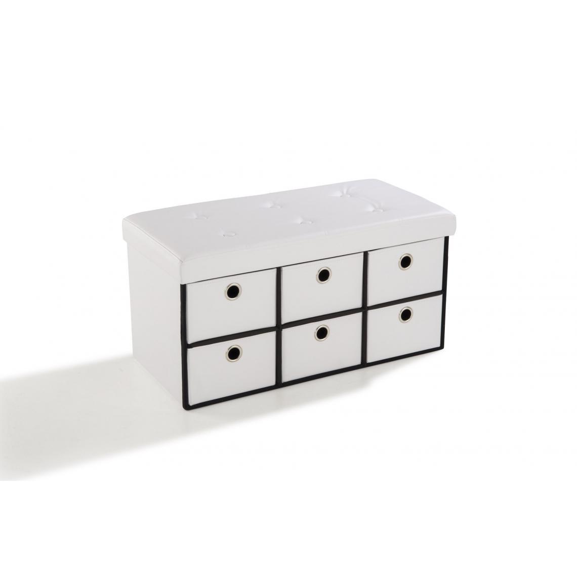 3S. x Home Banc de rangement Simili Cuir 6 tiroirs Blanc RANGO