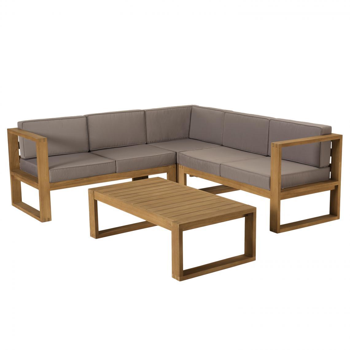 MACABANE Salon de jardin MINORQUE Table basse Teck + Canapé d'angle 5 places