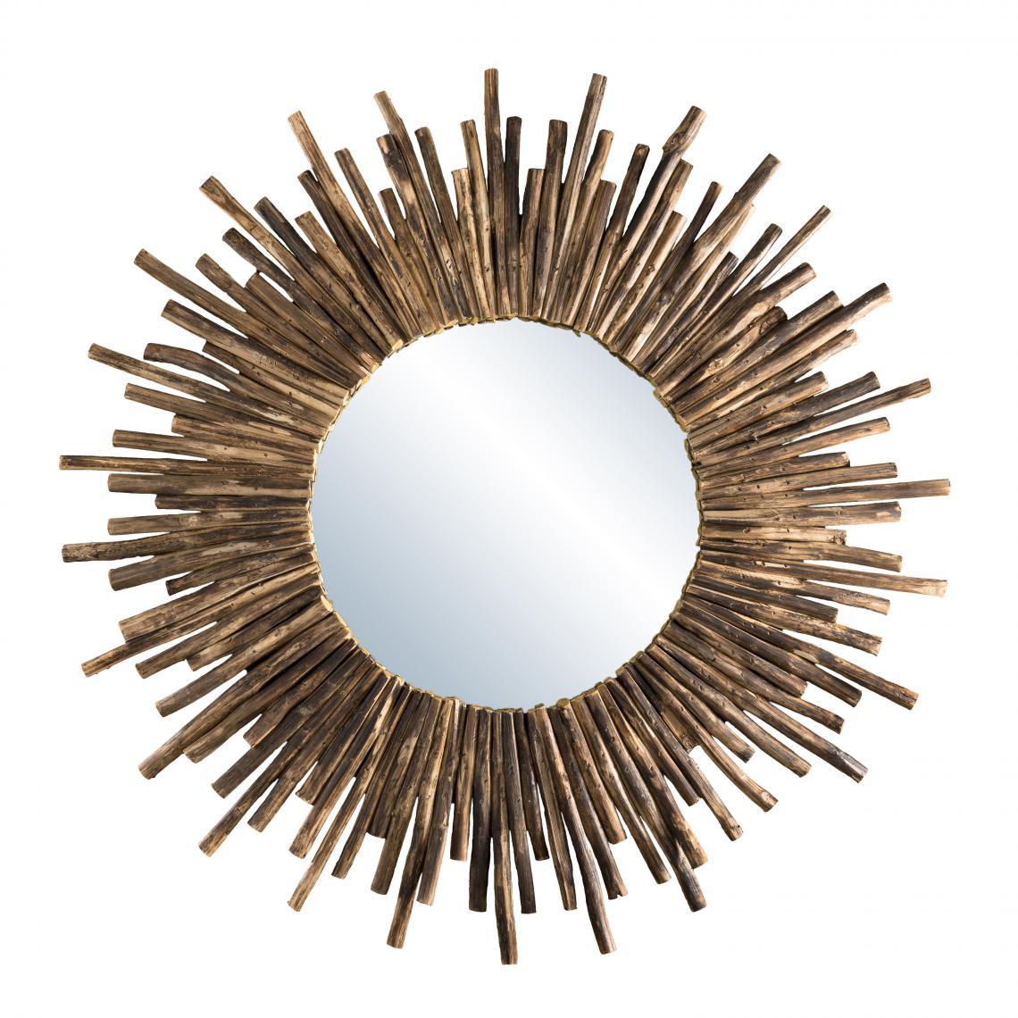 MACABANE Miroir rond soleil bois nature branches - CLEA