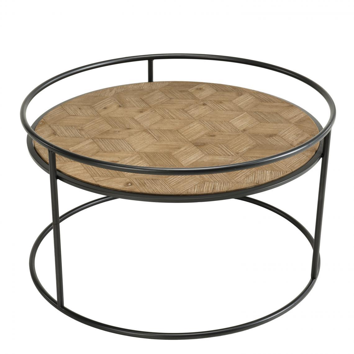 MACABANE Table basse ronde Sapin et métal - ELYNA