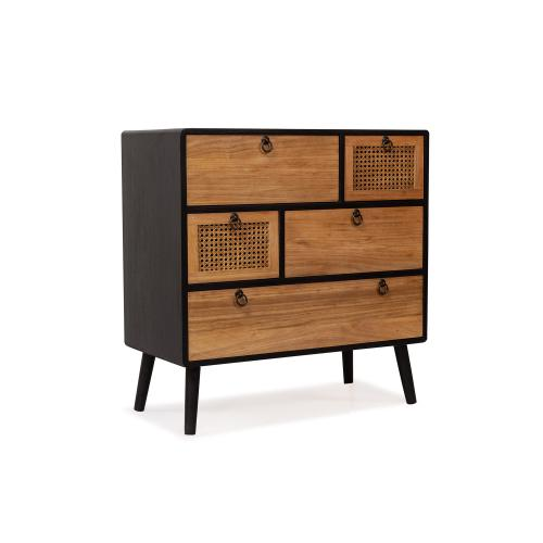 3S. x Home -Cabinet 5 tiroirs Noir LARRY 3S. x Home  - Commode