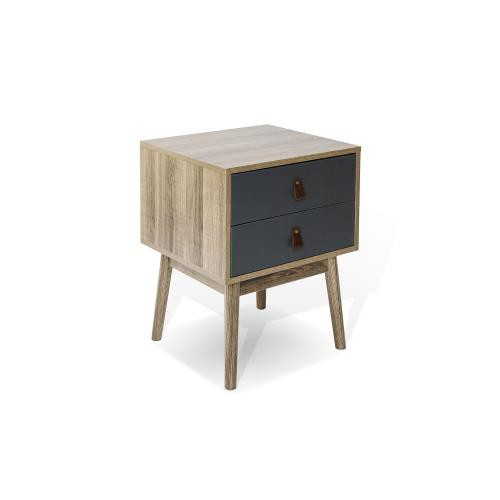 3S. x Home -Cabinet 2 tiroirs Bois/Gris LEATHER 3S. x Home  - Commode