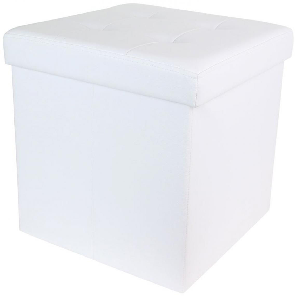 3S. x Home Coffre Pouf Pliable Blanc Impression Cuir ESSY