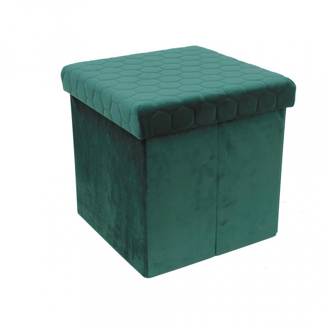 3S. x Home Coffre Pouf Pliable Velours Vert LAFOA