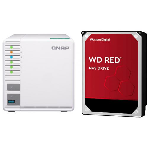 "Qnap - TS-328 - 3 baies + 3 WD RED 4 To - 3,5"" SATA III 6 Go/s - Cache 256 Mo - Rouge - Qnap"