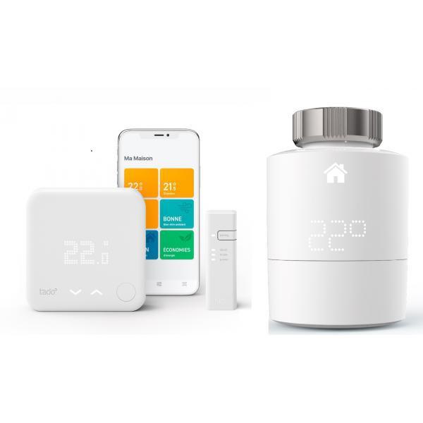 Tado - Kit de démarrage V3+ - Thermostat Intelligent + Bridge Internet + Tête thermostatique Intelligente