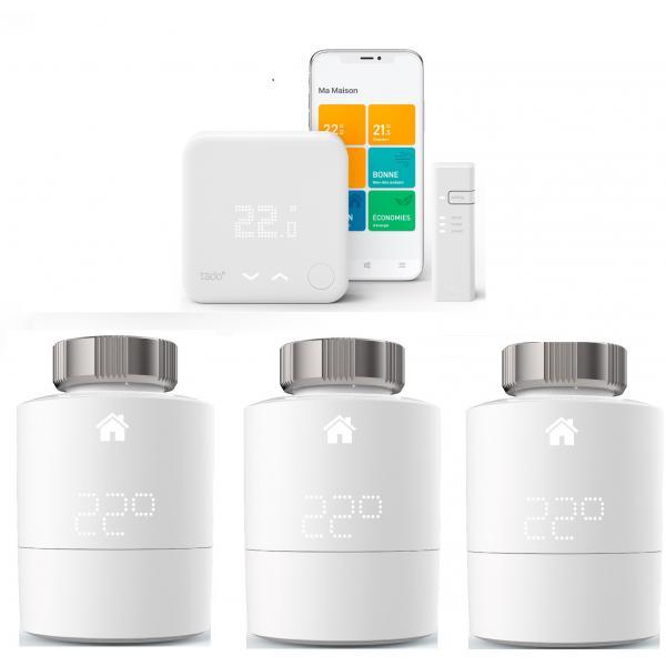 Tado - Kit de démarrage V3+ - Thermostat Intelligent + Bridge Internet + 3 Têtes thermostatique Intelligente