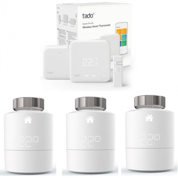 Tado - Kit de démarrage V3+ - Thermostat Intelligent sans fil + 3x Têtes thermostatique