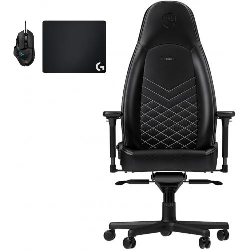 Noblechairs - Chaise Gamer ICON - Noir/Blanc + Souris G502 HERO + Tapis de souris G240 - Chaise gamer