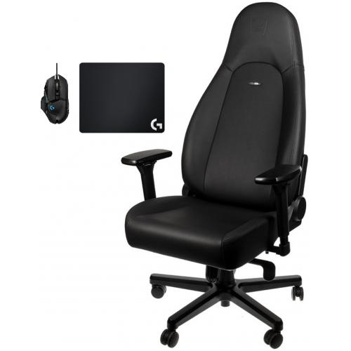 Noblechairs - Chaise Gamer ICON - Black Edition + Souris G502 HERO + Tapis de souris G240 - Chaise gamer