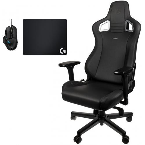 Noblechairs - Chaise Gamer EPIC - Black Edition + Souris G502 HERO + Tapis de souris G240 - Chaise gamer