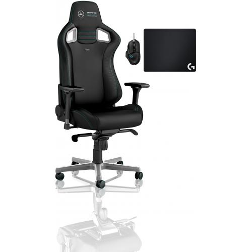 Noblechairs - Chaise Gamer EPIC - Mercedes-AMG Petronas Motorsport 2021 Edition + Souris G502 HERO + Tapis de souris G240 - Chaise gamer