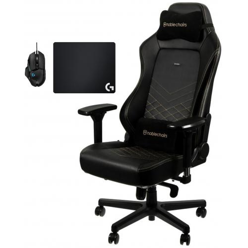 Noblechairs - Chaise Gamer HERO - Noir/Or + Souris G502 HERO + Tapis de souris G240 - Chaise gamer