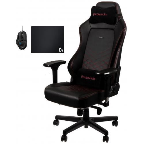 Noblechairs - Chaise Gamer HERO - Noir/Rouge + Souris G502 HERO + Tapis de souris G240 - Chaise gamer
