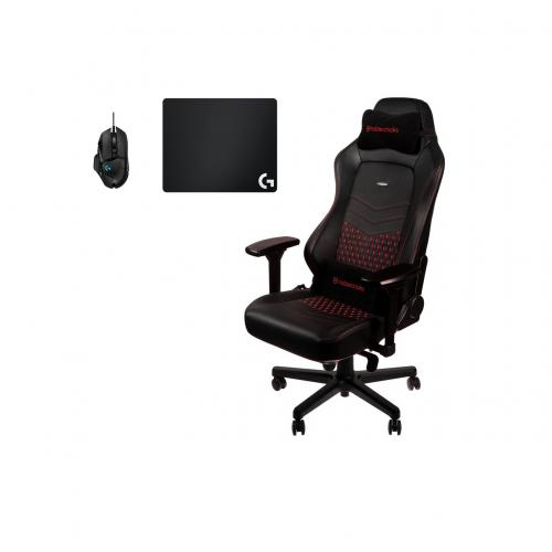Noblechairs -Chaise Gamer HERO - Vrai Cuir - Noir/Rouge + Souris G502 HERO + Tapis de souris G240 Noblechairs  - Chaise gamer