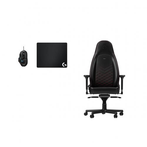 Noblechairs - Chaise Gamer ICON - Noir/Rouge + Souris G502 HERO + Tapis de souris G240 - Chaise gamer