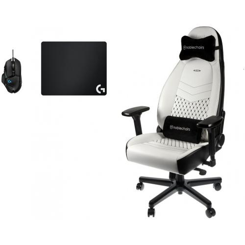 Noblechairs - Chaise Gamer ICON - Blanc/Noir + Souris G502 HERO + Tapis de souris G240 - Chaise gamer