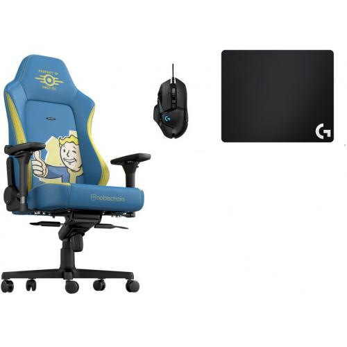 Noblechairs - Chaise Gamer HERO FALLOUT VAULT TEC EDITION + Souris G502 HERO + Tapis de souris G240 - Chaise gamer