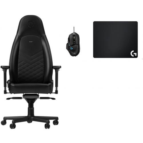 Noblechairs - Chaise Gamer ICON - Noir + Souris G502 HERO + Tapis de souris G240 - Chaise gamer