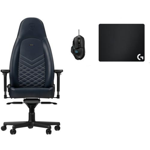 Noblechairs - Chaise Gamer ICON - Vrai Cuir - Bleu nuit + Souris G502 HERO + Tapis de souris G240 - Chaise gamer