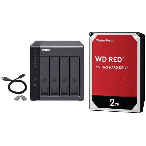 Qnap - TR-004 - 4 Baies + 4 WD RED 2 To - 3.5'' SATA III 6 Go/s - Cache 256 Mo - Rouge - Qnap