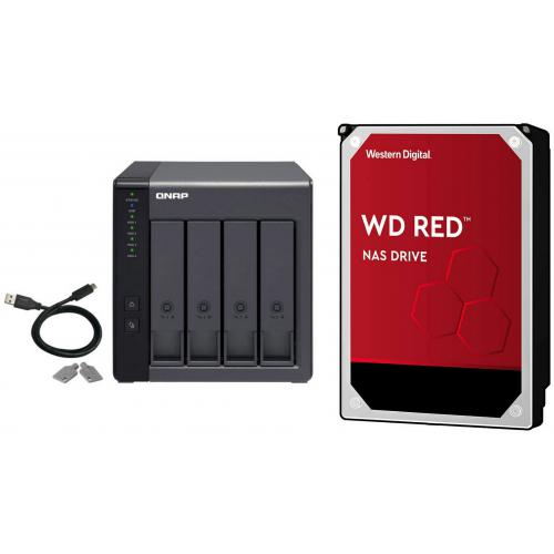 "Qnap - TR-004 - 4 Baies + WD RED 4 To - 3,5"" SATA III 6 Go/s - Cache 256 Mo - Rouge - Qnap"