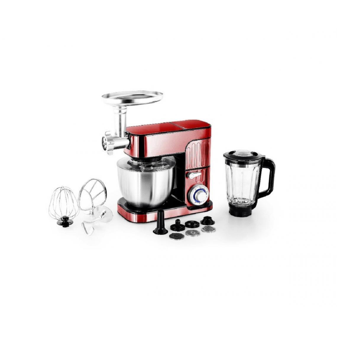 Kitchencook Robot pétrin multifonction Antara Pro - 5.5L - 3 en 1 - 1300W - Inox Rouge