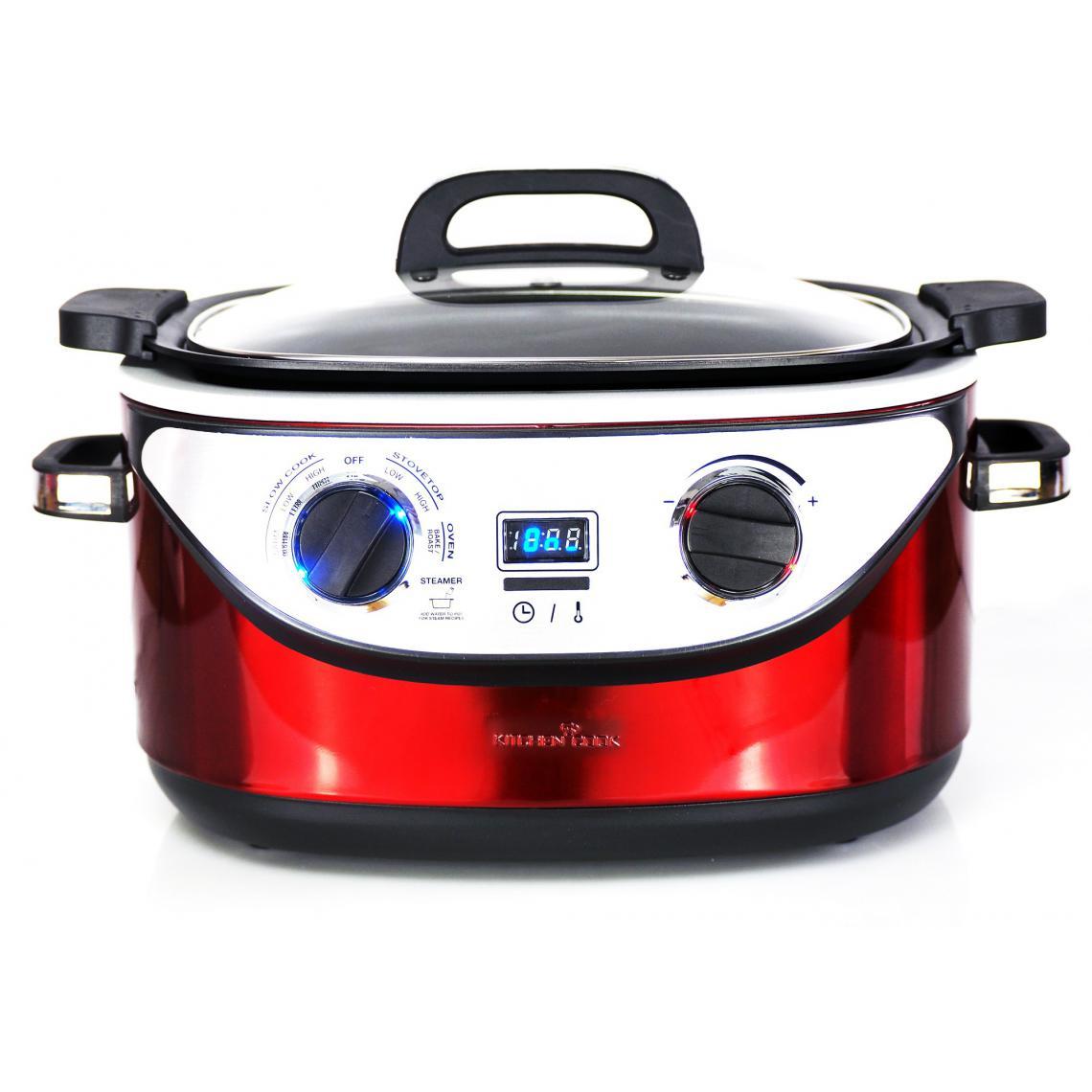 Kitchencook Multicuiseur Cookotte - 8 programmes - 5.6l - Inox Rouge