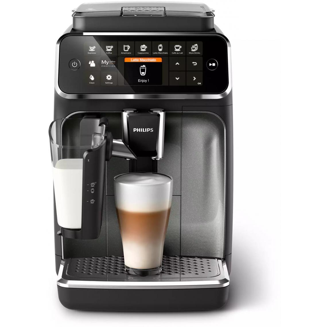 Philips Machine à café Expresso broyeur Série 4300 - EP4349/70 LatteGo - Noir