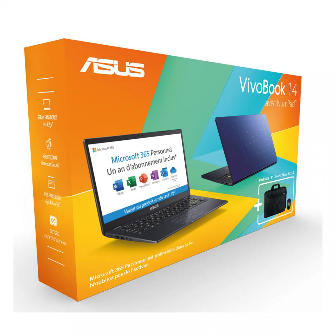 Asus Vivobook E410MA-EK971TS - Bleu + Sacoche + Souris + Office 365 1an