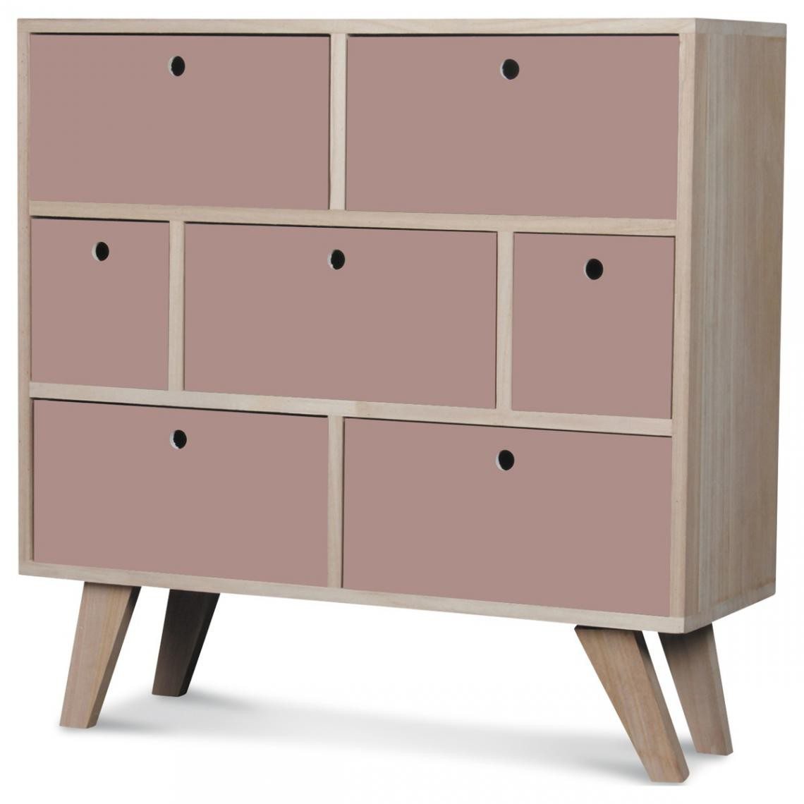 OPJET Commode 7 Tiroirs Bois Rose MONTREAL