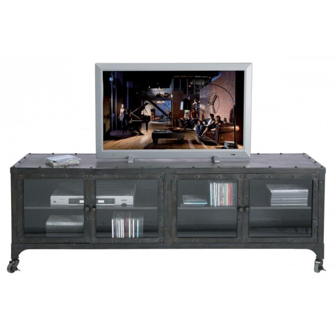 KARE DESIGN Meuble Tv Factory en métal gris anthracite style Industriel