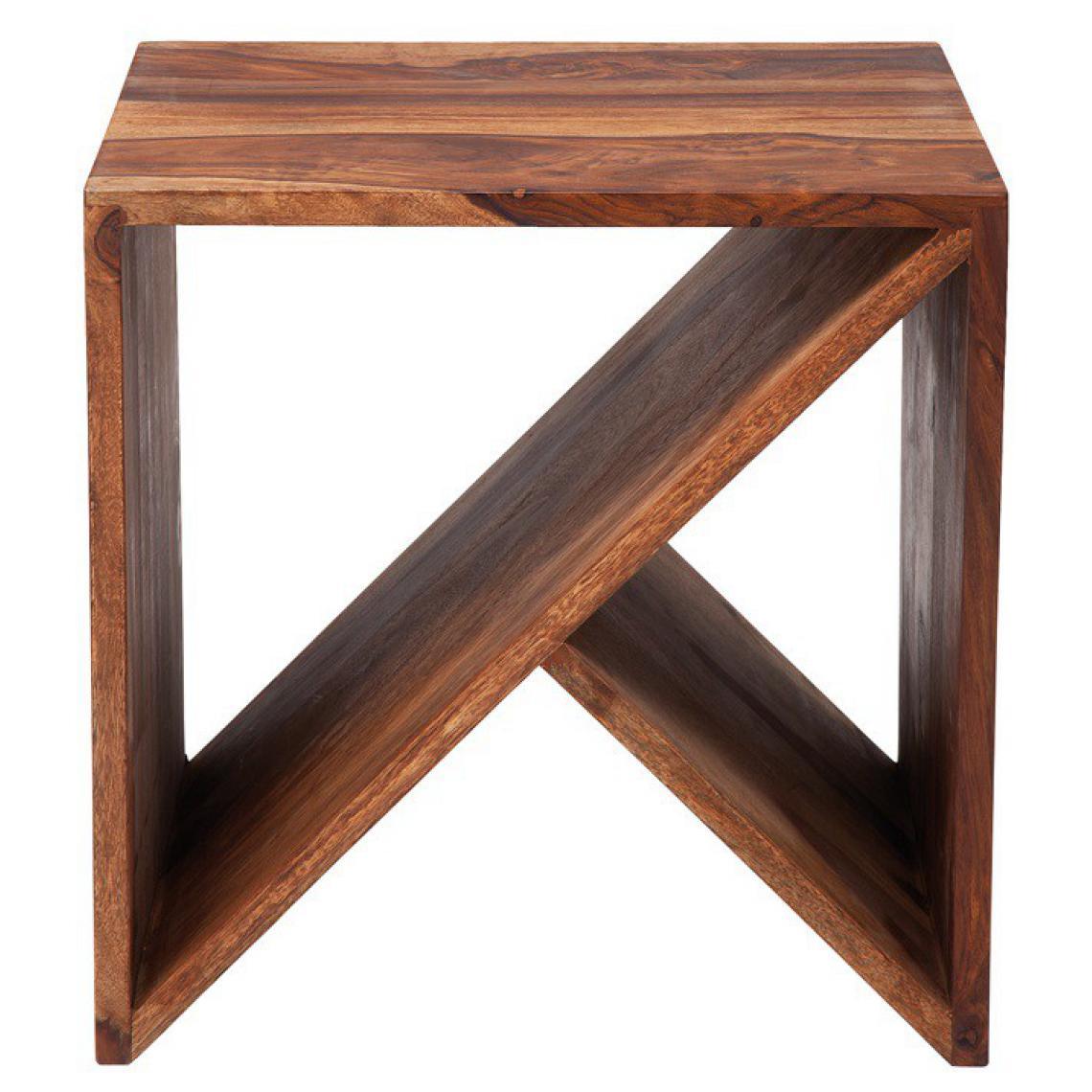 KARE DESIGN Table Basse Cube Zigzag Bois Sheesham