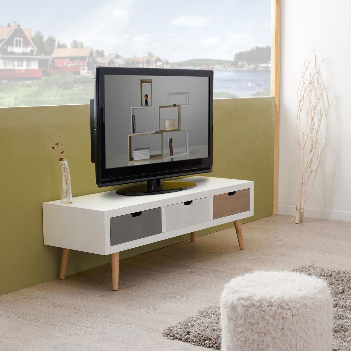 MACABANE Meuble rectangulaire TV 3 tiroirs - Multicolore