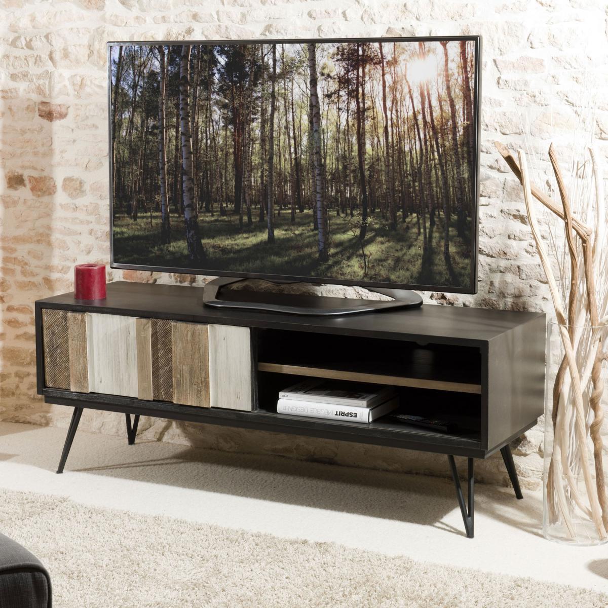 MACABANE Meuble TV 1 porte coulissante 2 niches pieds épingle style industriel - Multicolore