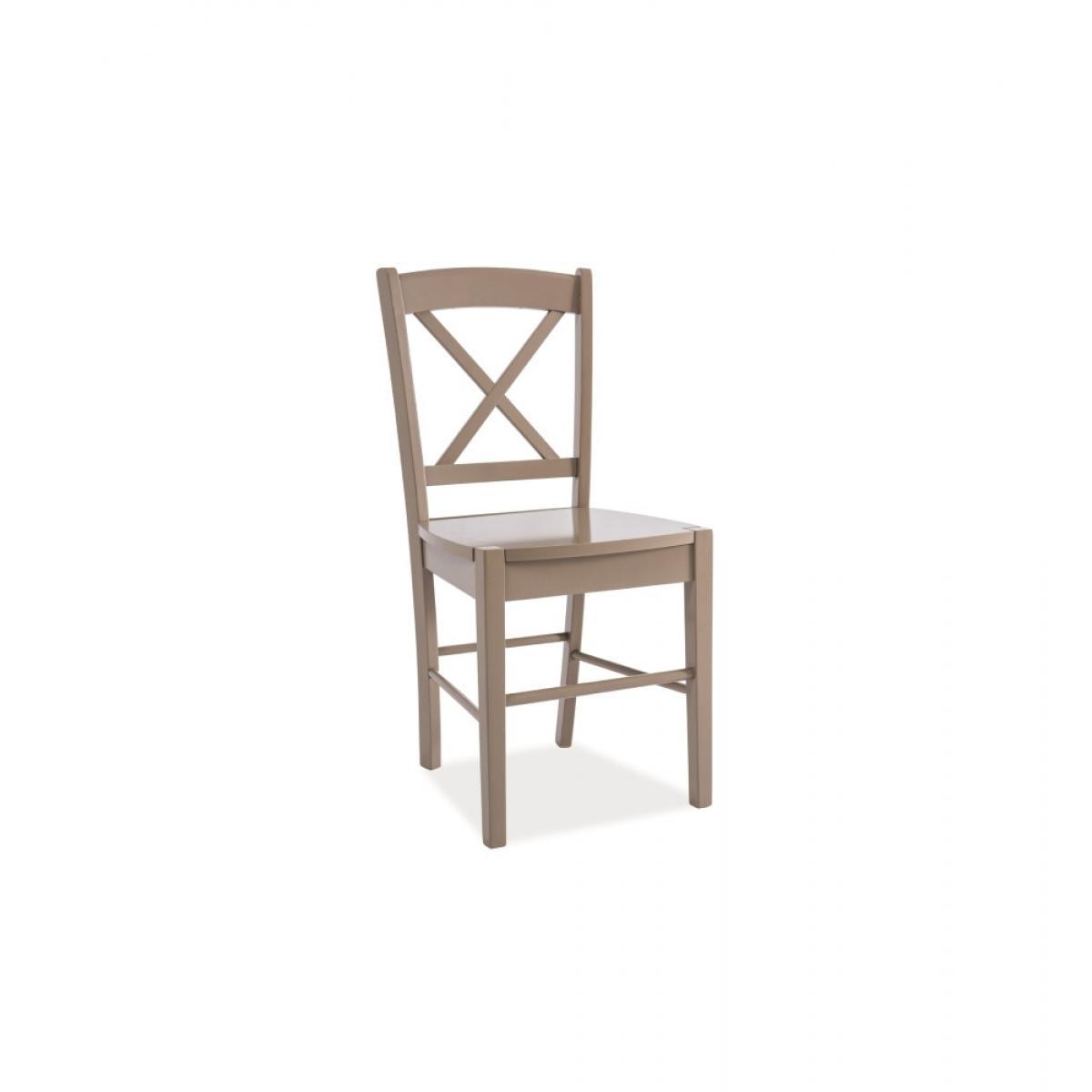 Ac-Deco Chaise avec dossier en croix - 40 x 36 x 85 cm - Taupe