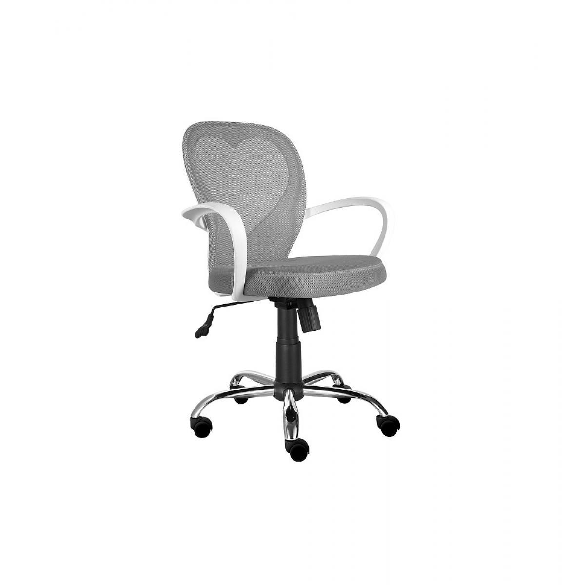 Ac-Deco Chaise de bureau à roulettes - Daisy - 60 x 47 x 98 cm - Gris