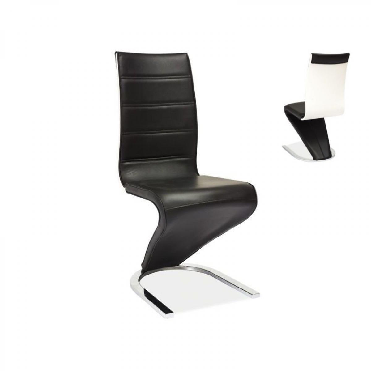 Ac-Deco Chaise design - H134 - 46 x 44 x 99 cm - Noir et blanc