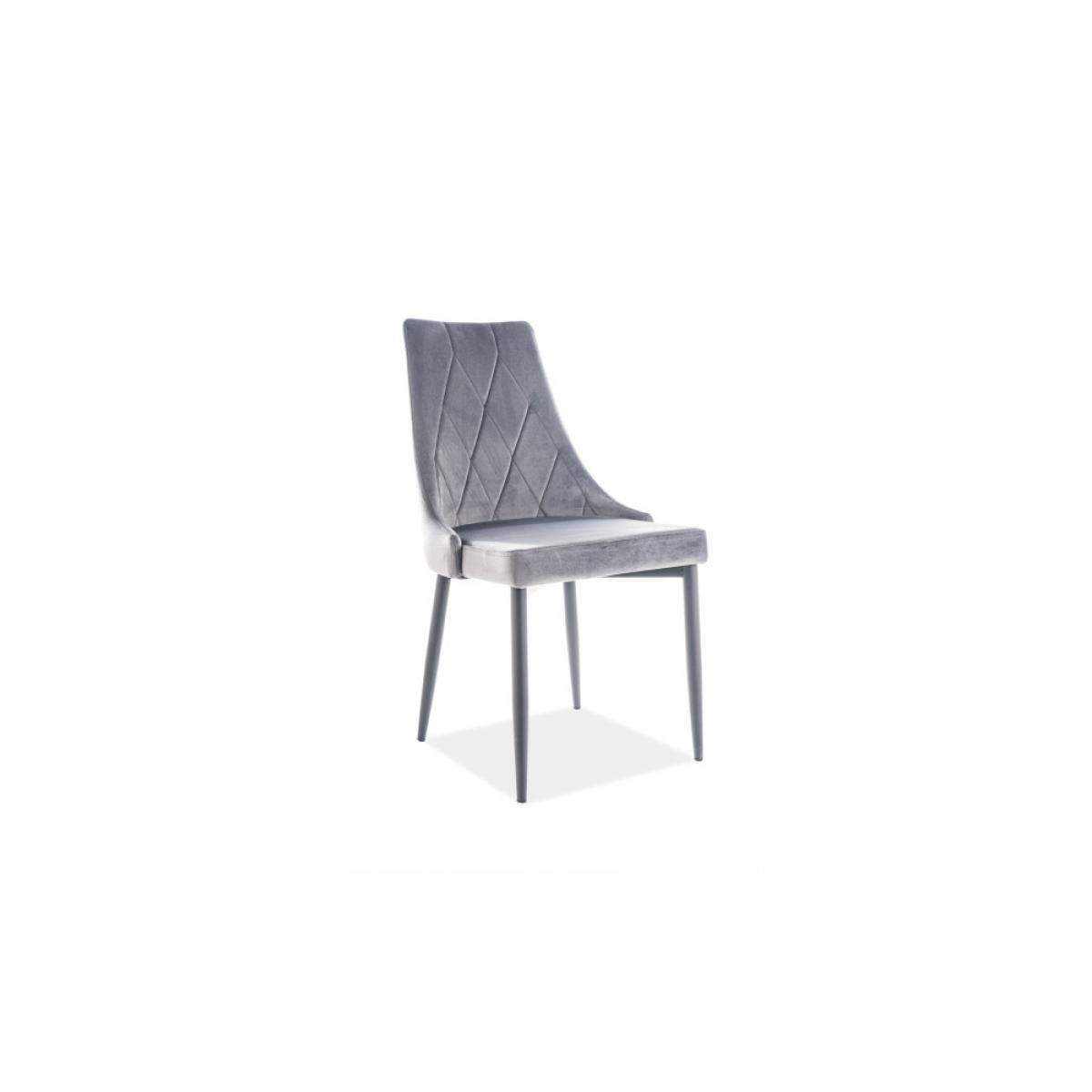 Ac-Deco Chaise en velours - Trix - 46 x 46 cm x H 88 cm - Gris anthracite