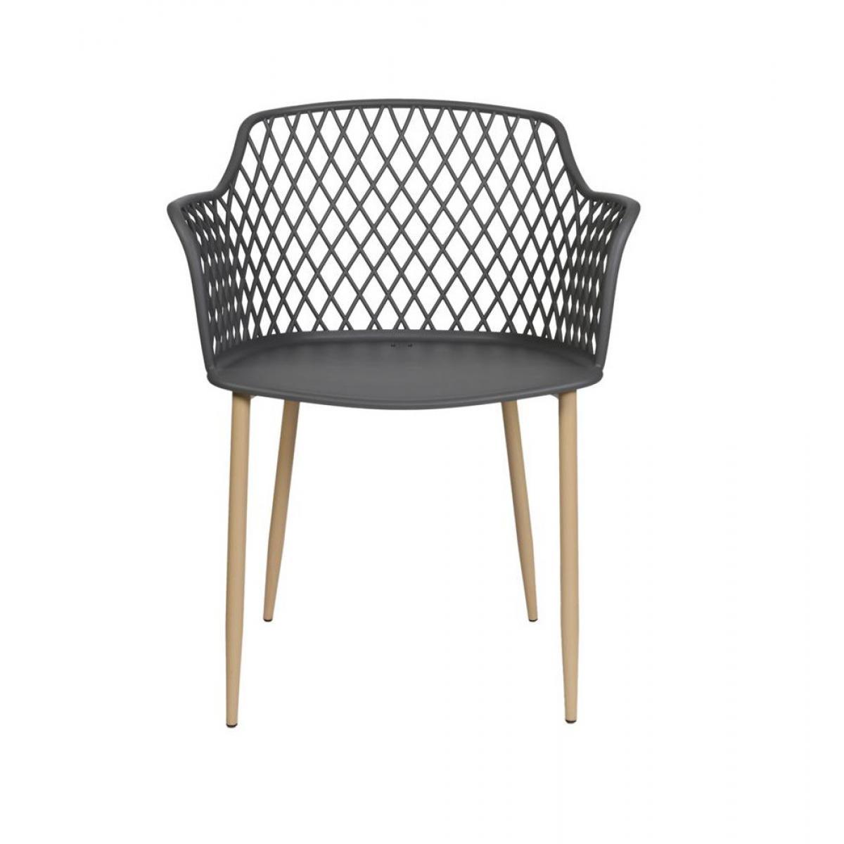 Ac-Deco Chaise - L 51,9 cm x l 47,8 cm x H 83,9 cm - Malaga - Gris