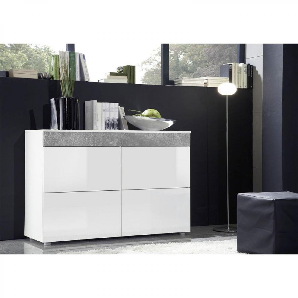 Ac-Deco Commode Design 4 Tiroirs Light Blanc Mat & Atelier