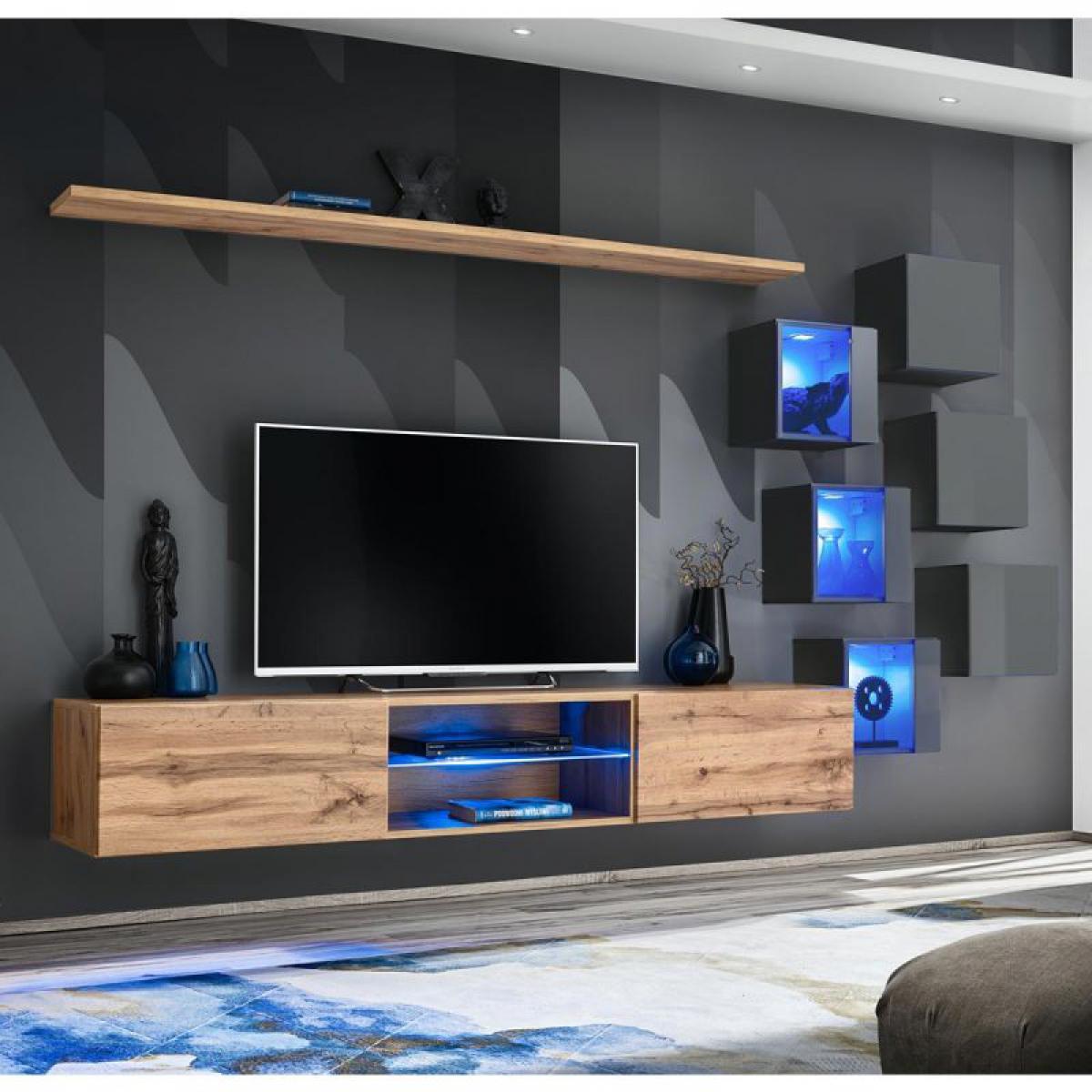 Ac-Deco Ensemble Meuble TV Switch XXI 180cm Naturel & Gris