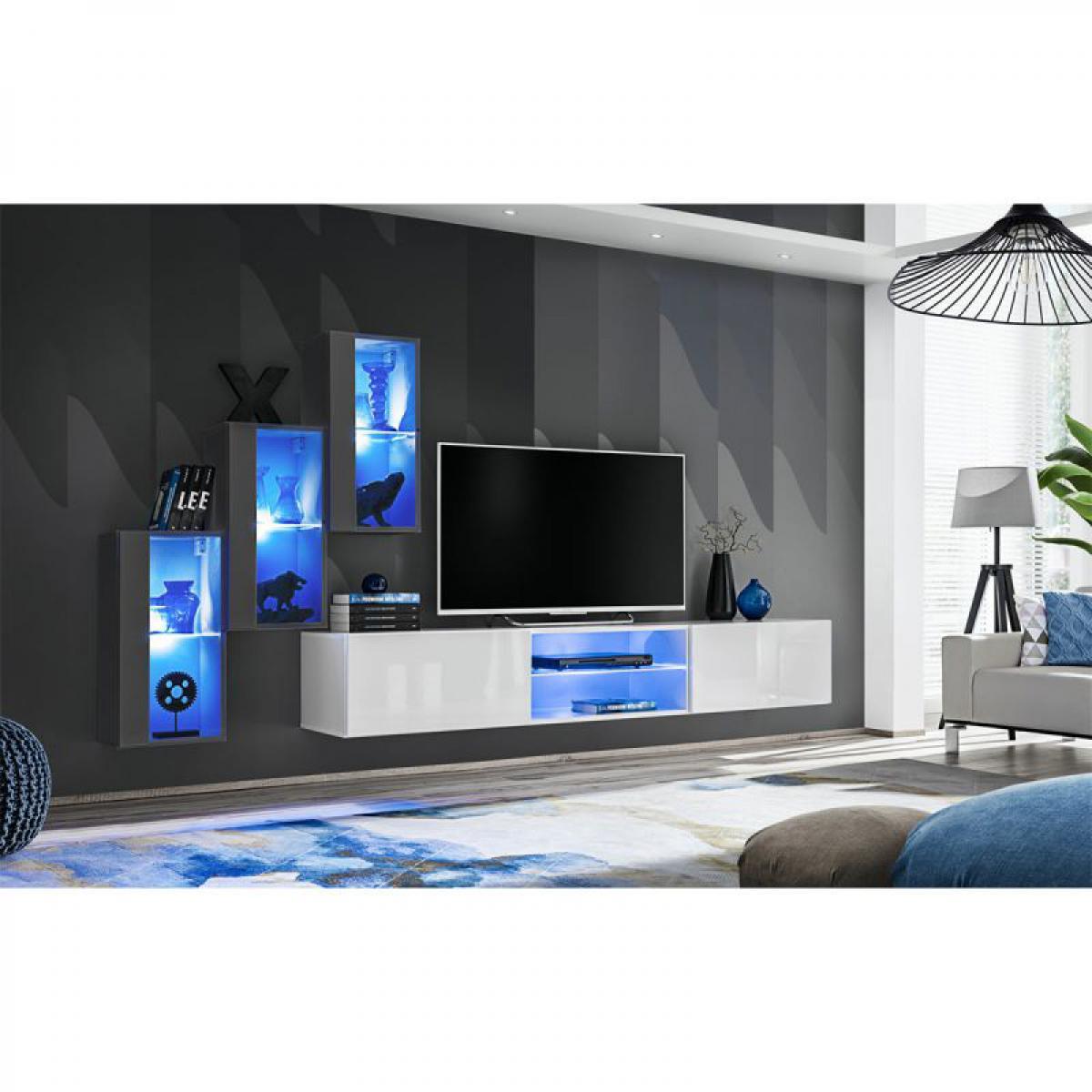 Ac-Deco Ensemble Meuble TV Switch XXII 240cm Gris & Blanc