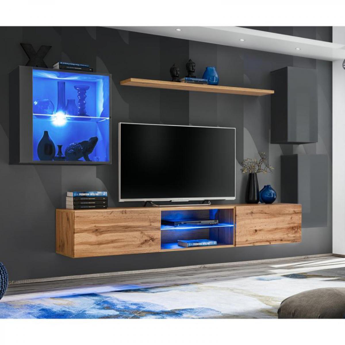 Ac-Deco Ensemble Meuble TV Switch XXIII 250cm Gris & Naturel