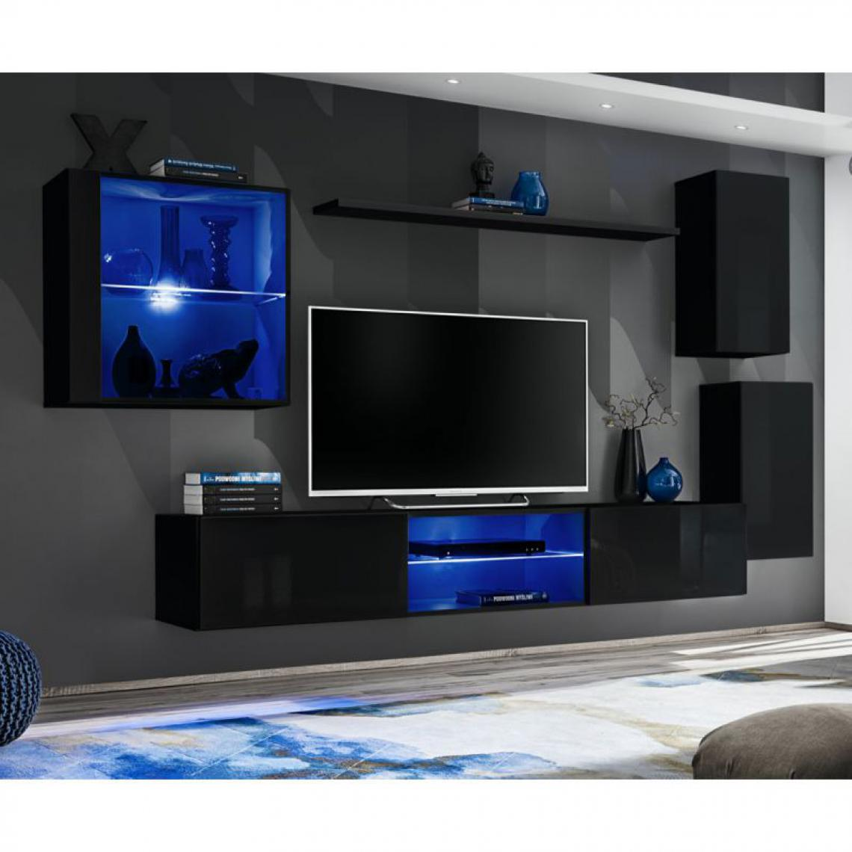 Ac-Deco Ensemble Meuble TV Switch XXIII 250cm Noir & Gris
