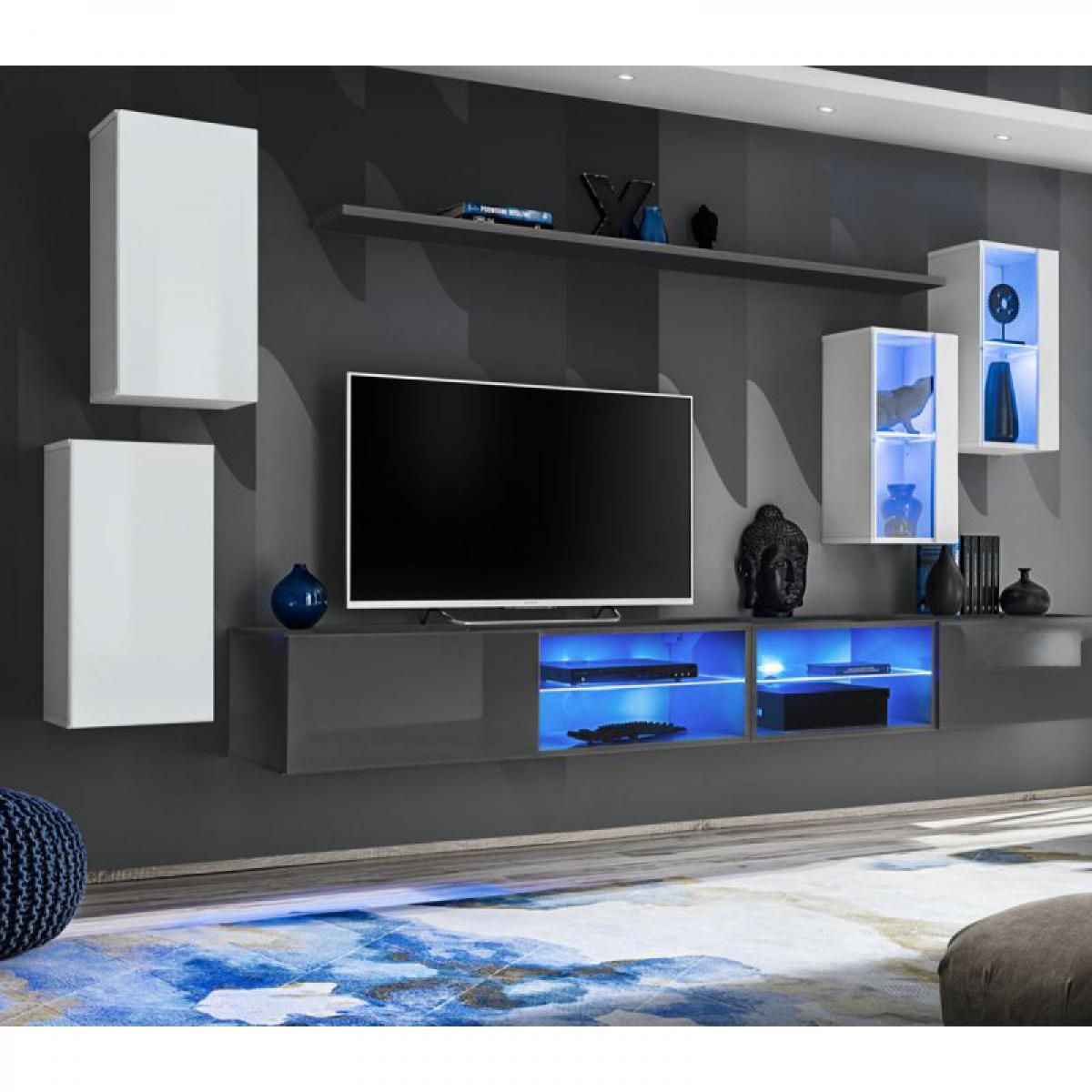 Ac-Deco Ensemble Meuble TV Switch XXV 280cm Blanc & Gris