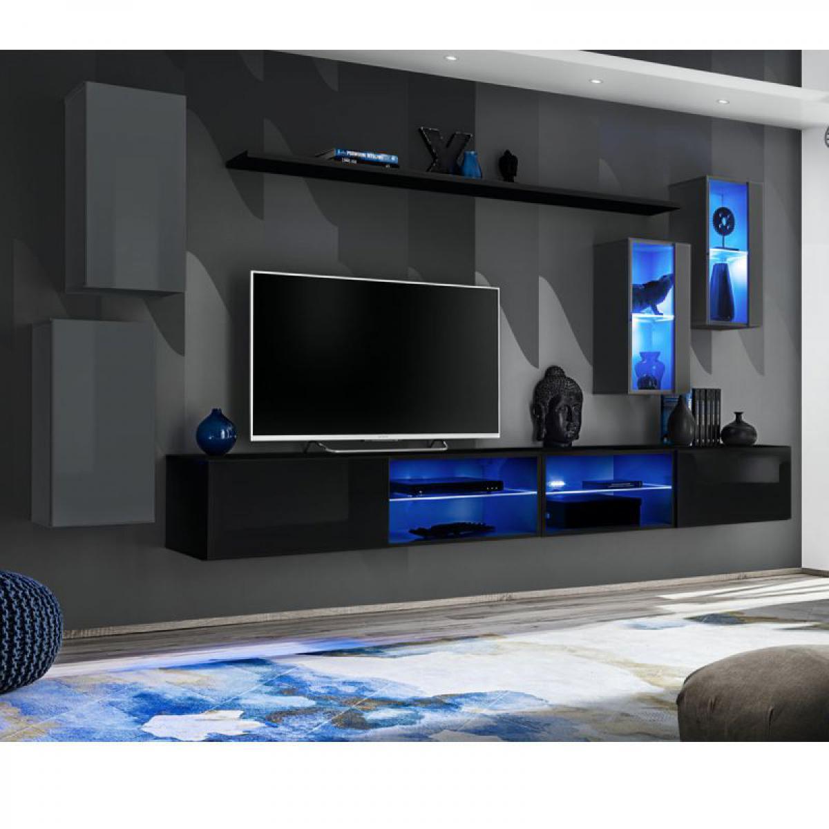 Ac-Deco Ensemble Meuble TV Switch XXV 280cm Gris & Noir
