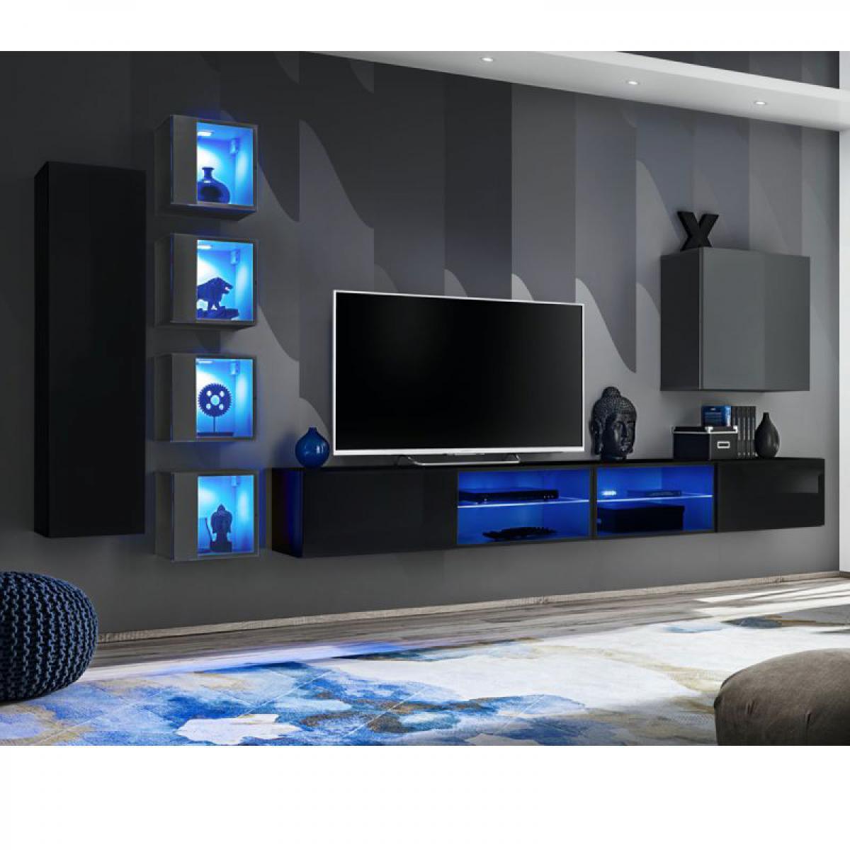 Ac-Deco Ensemble Meuble TV Switch XXVI 320cm Noir & Gris