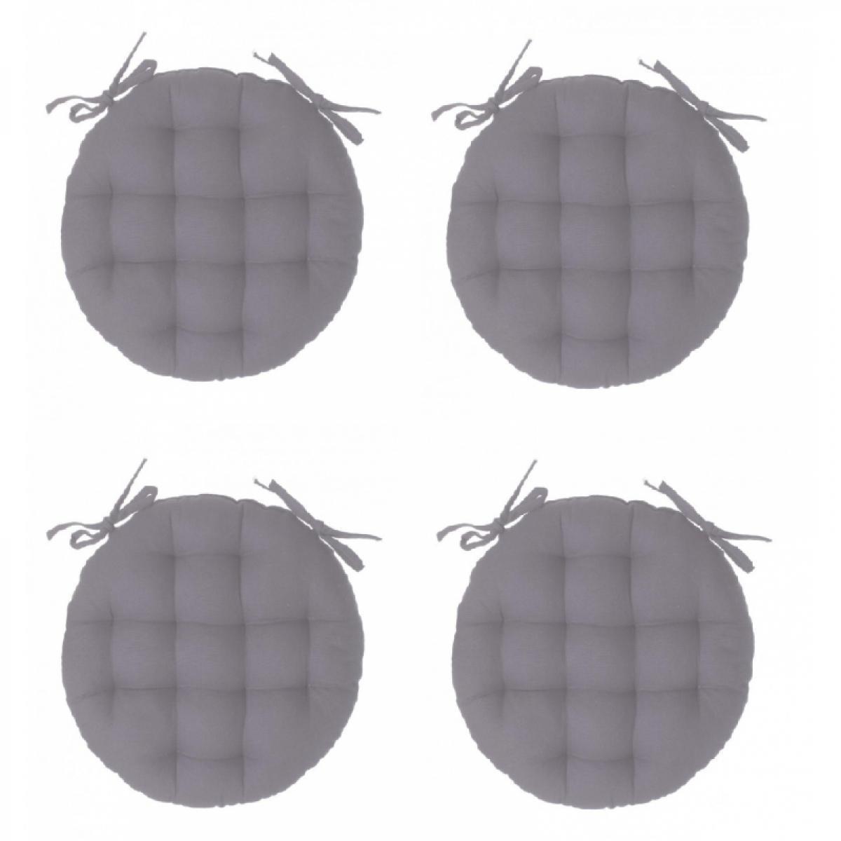 Ac-Deco Galette de chaise ronde - Lot de 4 - D 38 cm - Gris clair