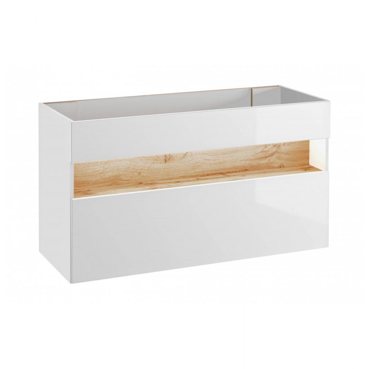 Ac-Deco Meuble sous vasque avec LED - 68 x 120 x 46 cm- Bahama White
